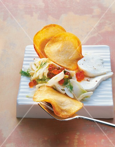 Potato ravioli with trout mousse and fennel salad