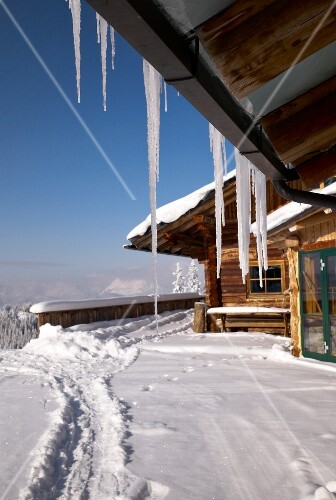 View of snow capped Chalet house in Planai, Schladming, Styria, Austria