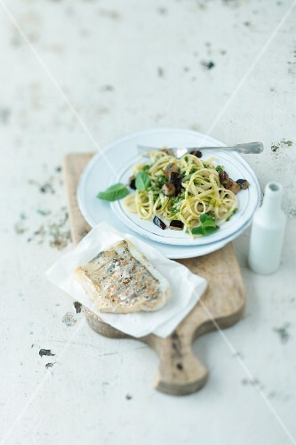 Linguine with aubergines, mint pesto and zander fillet