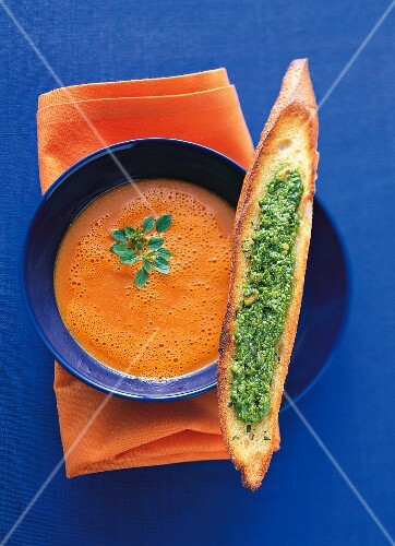 Pesto Bruschetta with peperonata soup and herb in bowl