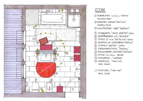 Badezimmer mit Dachschräge, Gestaltung, Grundriss, Illustration ...