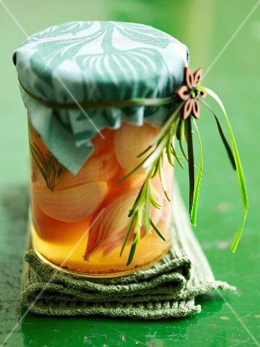 White wine shallots in a preserving jar
