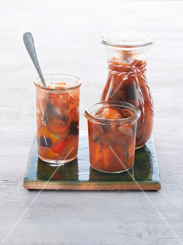 Pumpkin chutney in glass jars