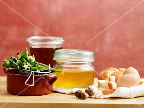 An arrangement of soup ingredients
