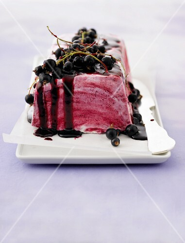 Cassis parfait with fresh blackcurrants