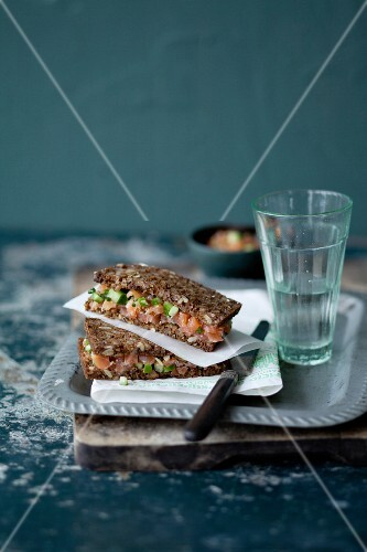 Black bread with salmon tartar