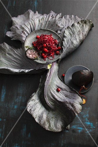 Caramelised red cabbage with fried black pudding