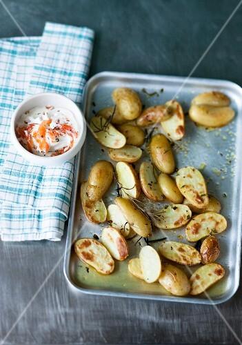 Rosemary potatoes with salmon quark