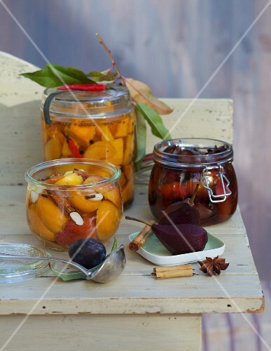 Jars of preserved fruit and vegetables