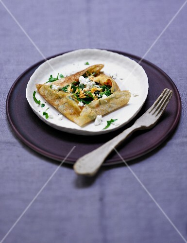 A buckwheat crepe with sheep's cheese