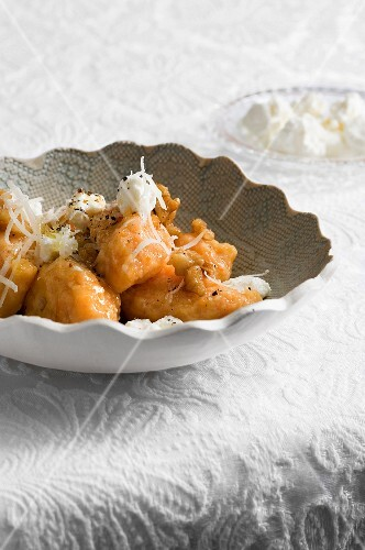 Pumpkin gnocchi with ricotta and nuts