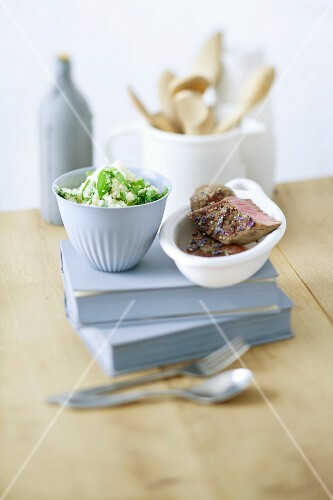 Lamb fillet with a lavender and honey marinade and herb couscous