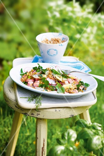Freekeh salad with asparagus, ham and radishes