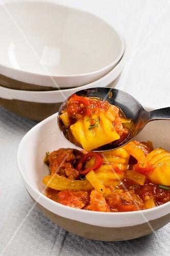Malloreddus pasta with a sausage sauce