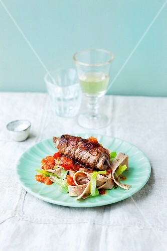 Veal roulade with wholemeal tagliatelle and tomato sauce
