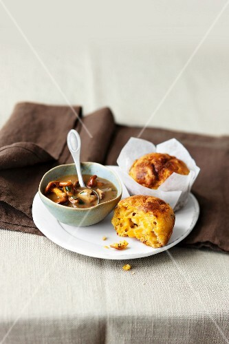Muscade de Provence muffins served with a mushroom ragout with plums