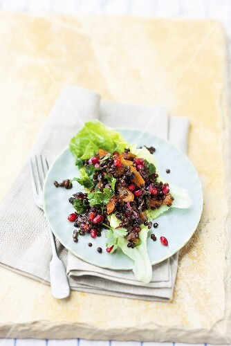 Lentil salad with dried apricots, olives and pomegranate seeds