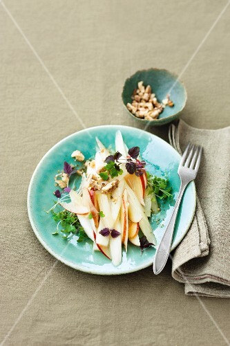 Black salsify salad with apples, walnuts and quince vinaigrette