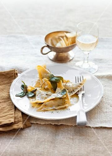 Mushroom ravioli in sage butter