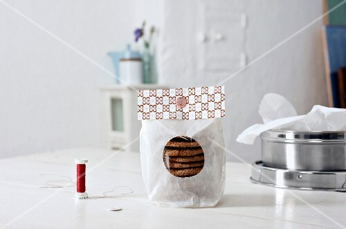 Homemade chocolate biscuits as a gift