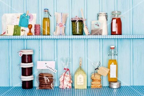 Various homemade, edible presents on a shelf