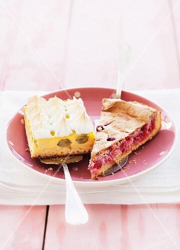A slice of grape cake and a slice of gooseberry cake