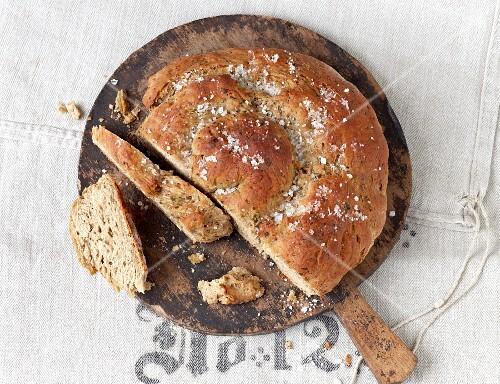 Mediterranean bread spiral sprinkled with sea salt
