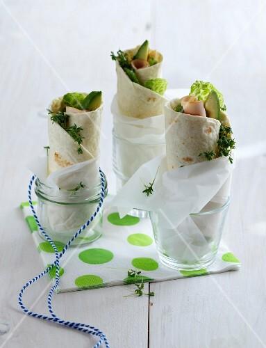 Turkey wraps with avocado and cress