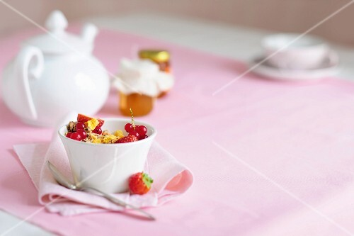 Muesli with fresh berries for breakfast