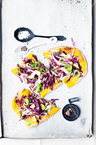 Tarte flambée with radicchio and king trumpet mushrooms