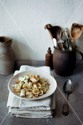 Orecchiette pasta with sweet potato and walnut pesto