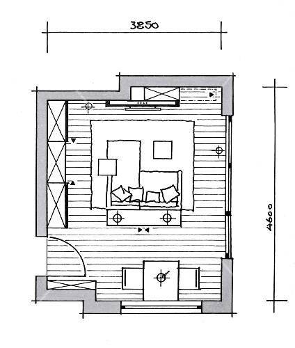 Illustration, Grundriss, Wohnzimmer, Esszimmer, Mediencenter – Bild ...