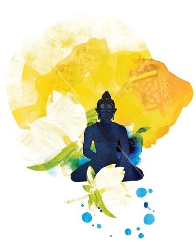 Illustration: Buddha, blau, gelb