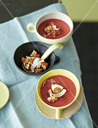 Beetroot soup with sweet potatoes, coconut and diced unleavened bread
