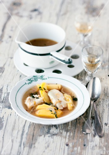 Cotriade (Brittany fish stew) with potatoes and cidre