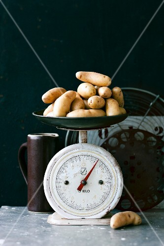 Potatoes on an old-fashioned kitchen scales