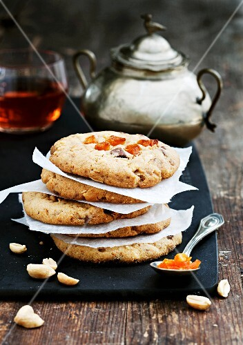 Double chocolate peanut cookies with apricots