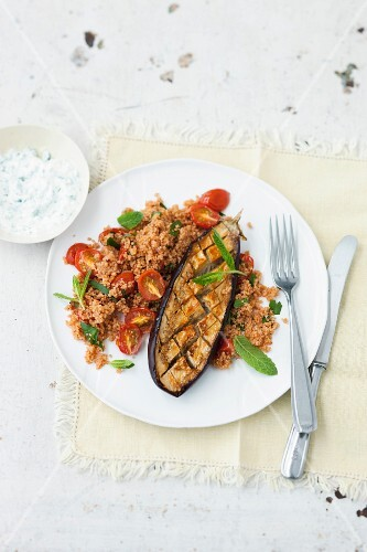Grilled aubergines with tomato couscous