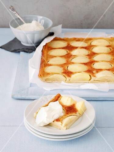 Apple cake with a cream topping (Alsace, France)