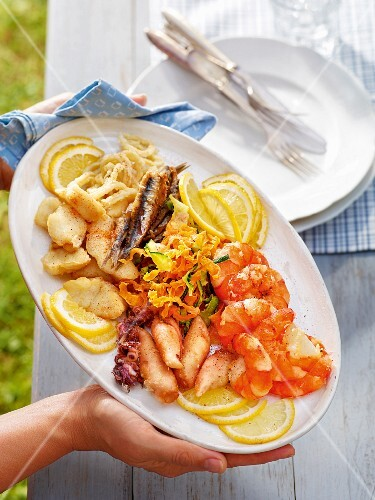 A serving platter of fried fish and seafood
