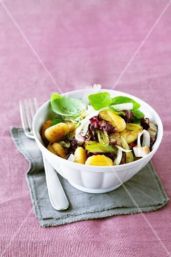 Gnocchi with radicchio, spring onions and basil