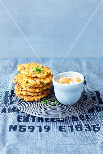 Vegetarian lentil fritters with a tangy yoghurt sauce
