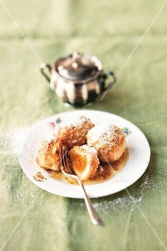 Yellow plum dumplings with nut crumbs (Austria)