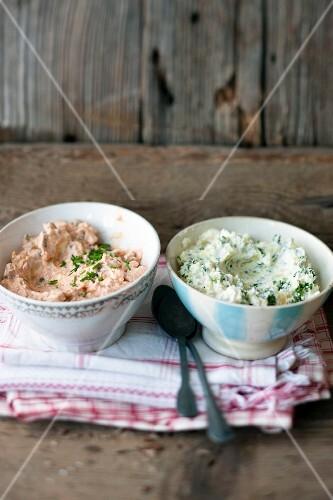 Liptauer cheese spread and Erdäpfelkas (potato salad spread) in bowls