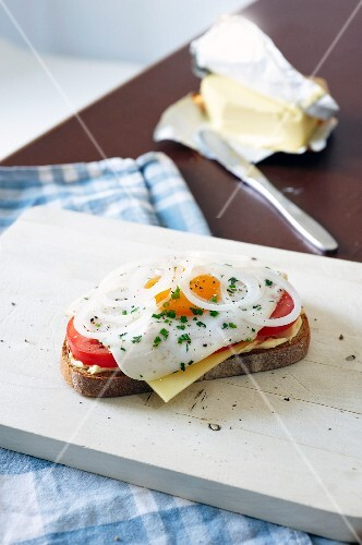 Cooking for students: fried egg and tomatoes on bread