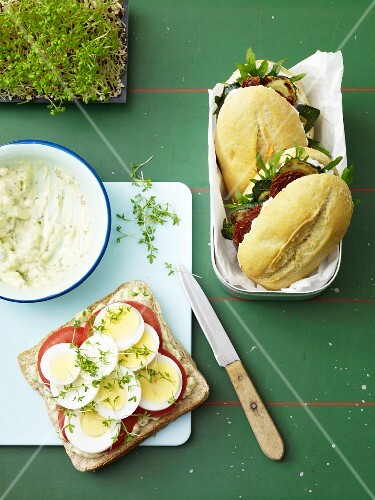 Healthy rolls: courgette baguettes and an egg sandwich