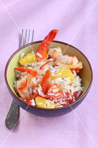 Chili and pineapple rice with prawns