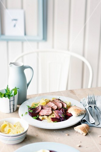 Lamb with plums and mint pasta