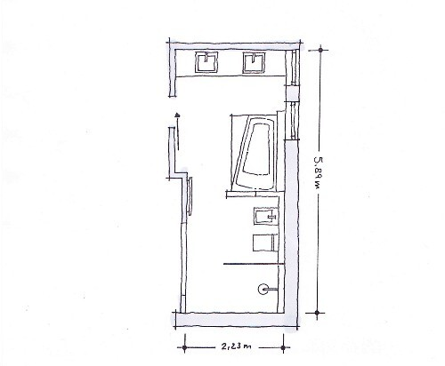 Illustration, Grundriss, Badezimmer Schmal, Länglich, Rechteckig