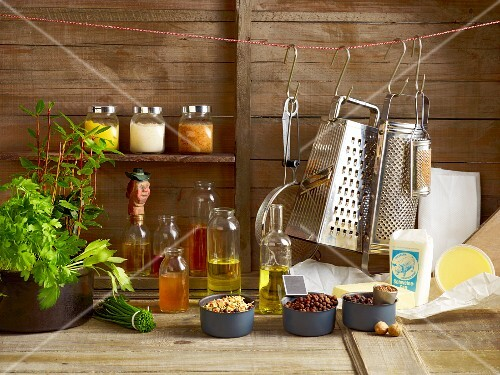 Assorted cooking utensils and ingredients